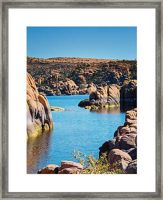 Watson Lake In The Fall Framed Print by Diane Wood