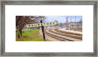 Wauwatosa Railroad Sign 2 Framed Print by Geoff Strehlow