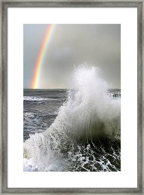 Wave And A Rainbow Framed Print by Mikel Martinez de Osaba