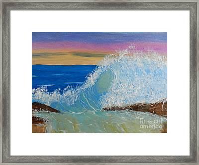 Wave At Sunrise Framed Print by Pamela  Meredith