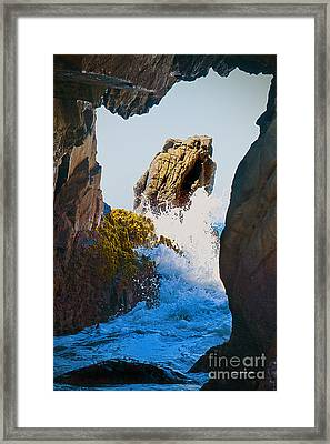 Wave Through The Cave At Pfiffer Beach In Big Sur Framed Print by Artist and Photographer Laura Wrede