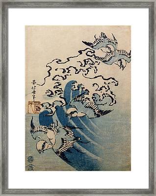Waves And Birds Framed Print by Katsushika Hokusai