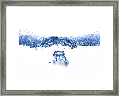 Waves And Bubbles - Rippling Surface Framed Print by Michal Boubin
