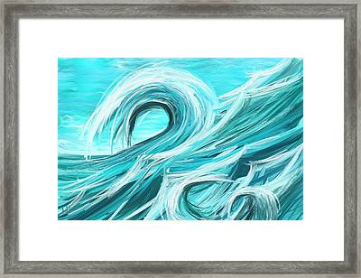 Waves Collision - Abstract Wave Paintings Framed Print by Lourry Legarde
