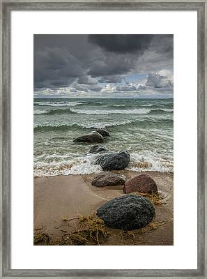 Waves Coming In Framed Print by Randall Nyhof