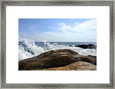 Waves Crashing Framed Print by Olivier Le Queinec
