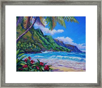 Waves On Na Pali Shore Framed Print by John Clark