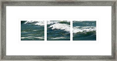 Waves Triptych Ll Framed Print by Michelle Calkins