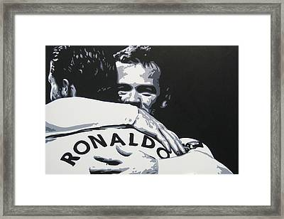 Wayne Rooney And Ronaldo - Manchester United Fc Framed Print by Geo Thomson