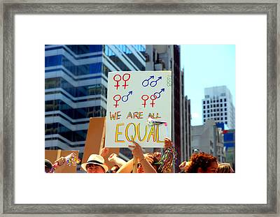 We Are All Equal Framed Print by Valentino Visentini