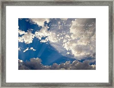 We Are All Light Beings Framed Print by Mary Lee Dereske
