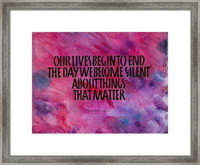 We Become Silent Framed Print by Elissa Barr
