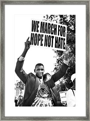 We March For Hope Not Hate Framed Print by Diane Diederich