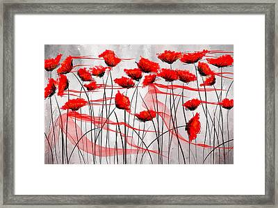 We Remember- Red Poppies Impressionist Painting Framed Print by Lourry Legarde