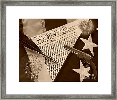 We The People Sepia Framed Print by Cheryl Young