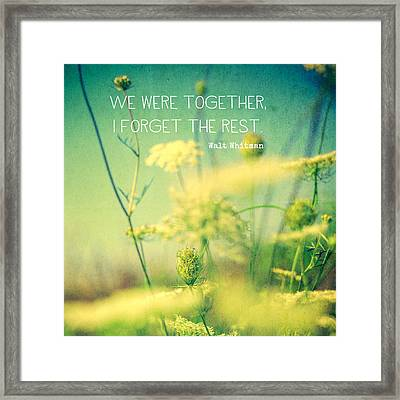 We Were Together Framed Print by Joy StClaire