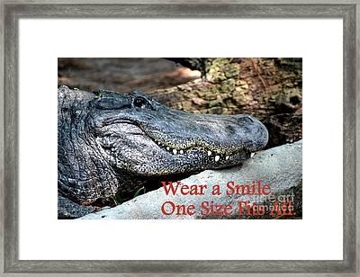 Wear A Smile/smiling Alligator Framed Print by Kathy  White