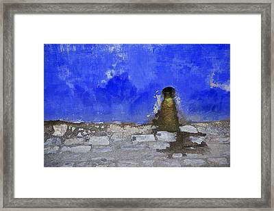 Weathered Blue Wall Of Old World Europe Framed Print by David Letts