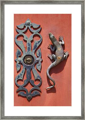 Weathered Brass Door Handle Of Medieval Europe Framed Print by David Letts