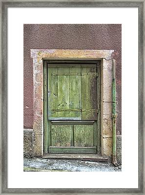 Weathered Green French Door Framed Print by Georgia Fowler