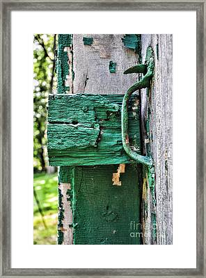 Weathered Green Paint Framed Print by Paul Ward