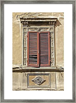 Weathered Red Wood Window Shutters Of Tuscany II Framed Print by David Letts