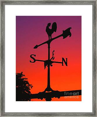 Weathervane At Sunset Framed Print by Nick Zelinsky