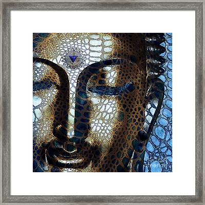 Web Of Dharma - Modern Blue Buddha Art Framed Print by Christopher Beikmann