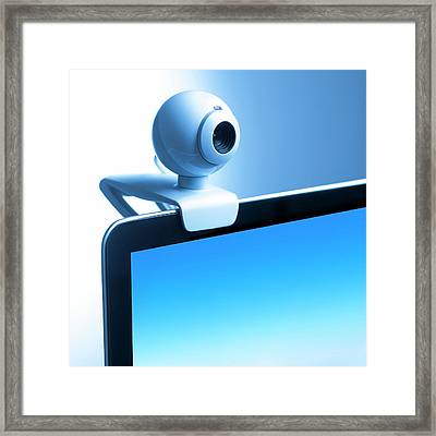 Webcam On Computer Monitor Framed Print by Science Photo Library
