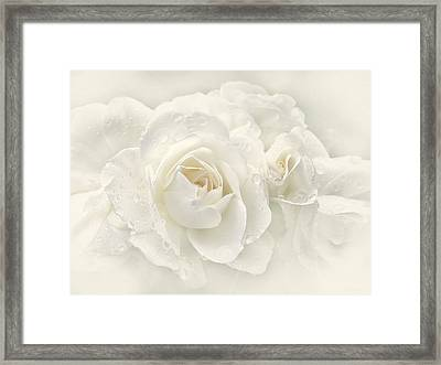Wedding Day White Roses Framed Print by Jennie Marie Schell