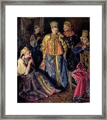Wedding Dress, 1911 Oil On Canvas Framed Print by Ivan Semyonovich Kulikov
