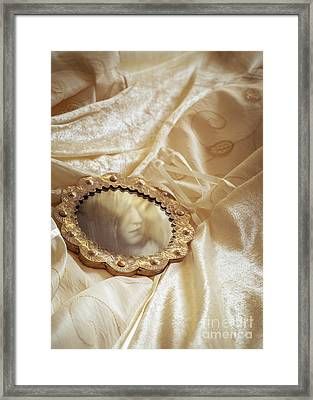 Wedding Dress And Mirror Framed Print by Amanda And Christopher Elwell