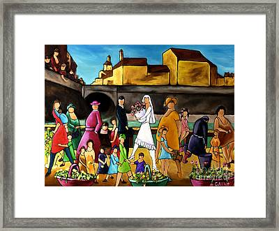 Wedding In Front Of Bridge Framed Print by William Cain