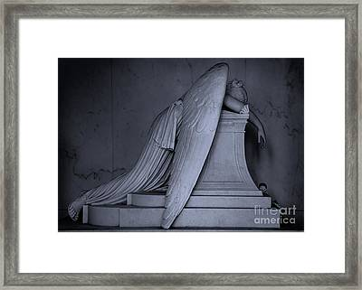 Weeping Angel Statue  Bw 2 Framed Print by Jerry Fornarotto