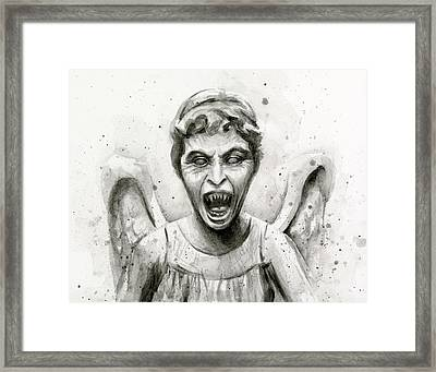 Weeping Angel Watercolor - Don't Blink Framed Print by Olga Shvartsur