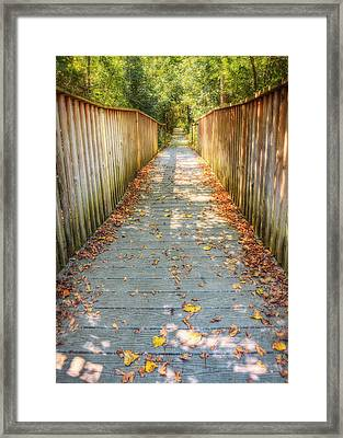 Wehr Nature Center Bridge In Autumn  Framed Print by The  Vault - Jennifer Rondinelli Reilly