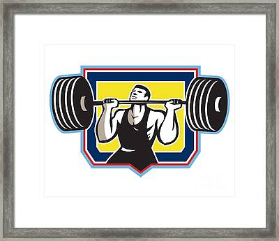 Weightlifter Lifting Heavy Barbell Retro Framed Print by Aloysius Patrimonio