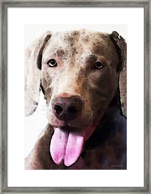 Weimaraner Dog Art - Happy Framed Print by Sharon Cummings