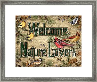 Welcome Nature Lovers Framed Print by JQ Licensing