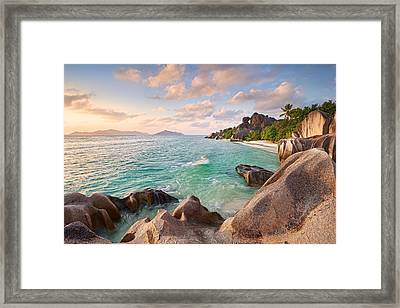 Welcome To La Digue Framed Print by Michael Breitung