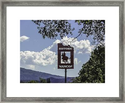 Welcome To Mancos Colorado Sign Framed Print by Karen Stephenson