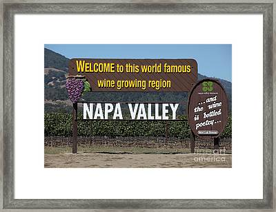Welcome To Napa Valley California 5d29493 Framed Print by Wingsdomain Art and Photography
