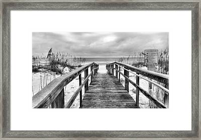Welcome To Pensacola Beach Bw Framed Print by JC Findley