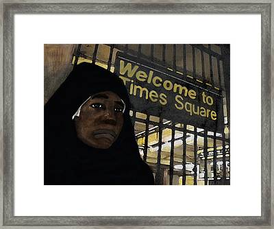 Welcome To Times Square Framed Print by Adam Metzner