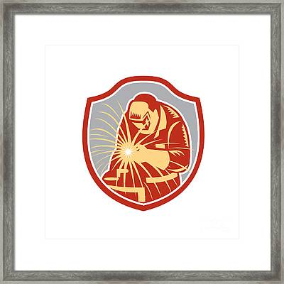 Welder Welding Working Shield Retro  Framed Print by Aloysius Patrimonio