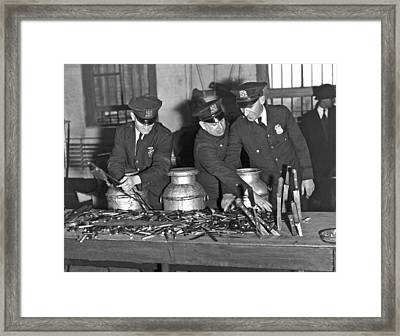 Welfare Island Weapons Framed Print by Underwood Archives
