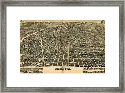 Wellge's Birdseye Map Of Denver Colorado - 1889 Framed Print by Eric Glaser