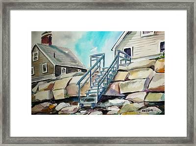 Wells Beach Beach Stairs Framed Print by Scott Nelson