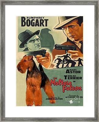 Welsh Terrier Art Canvas Print - The Maltese Falcon Movie Poster Framed Print by Sandra Sij