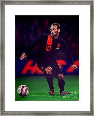 Wesley Sneijder  Framed Print by Paul Meijering